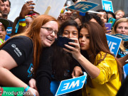 """INGLEWOOD, CA - APRIL 07:  Actress, multi-platinum recording artist and UNICEF Goodwill Ambassador, Selena Gomez, takes a selfie with fans at the WE Carpet at WE Day California 2016 at The Forum on April 7, 2016 in Inglewood, California  (Photo by Mike Windle/Getty Images for WE Day )"""