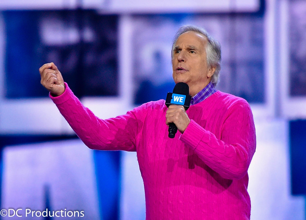 """INGLEWOOD, CA - APRIL 07: Actor Henry Winkler speaks onstage at WE Day California 2016 at The Forum on April 7, 2016 in Inglewood, California. (Photo by Mike Windle/Getty Images for WE Day )"""
