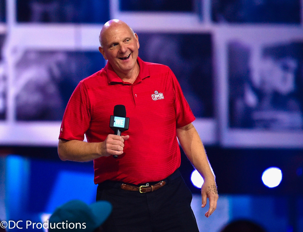 """INGLEWOOD, CA - APRIL 07: Los Angeles Clippers owner Steve Ballmer speaks onstage at WE Day California 2016 at The Forum on April 7, 2016 in Inglewood, California. (Photo by Mike Windle/Getty Images for WE Day )"""