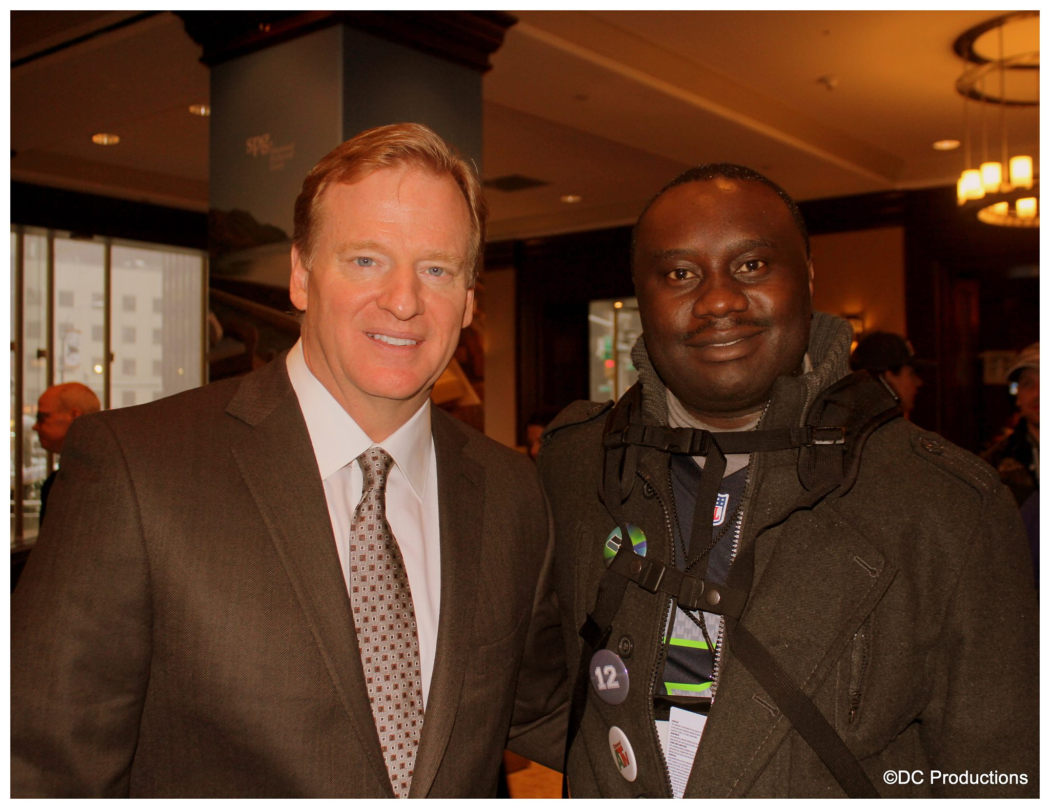 NFL Commissioner, Roger Goodell with Channel A TV Founder Davies Chirwa.