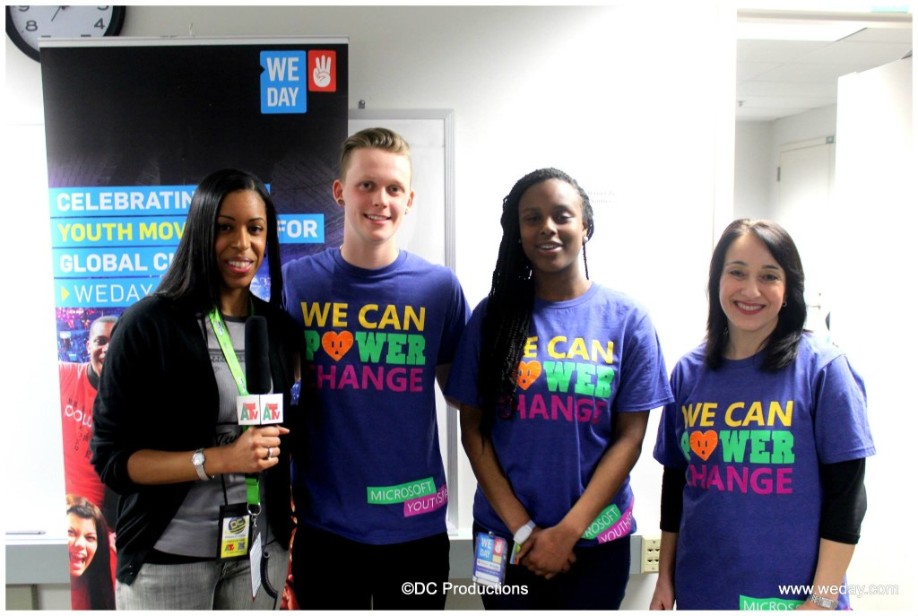 Reporter Crystal Brown (far left) interviews High School Microsoft YouthSpark reporters Tim Clingan (second from left), Delannah Collins-Wright (second from right) and Microsoft's General Manager for Citizenship and Public Affairs Lori Forte Harnick (far right).