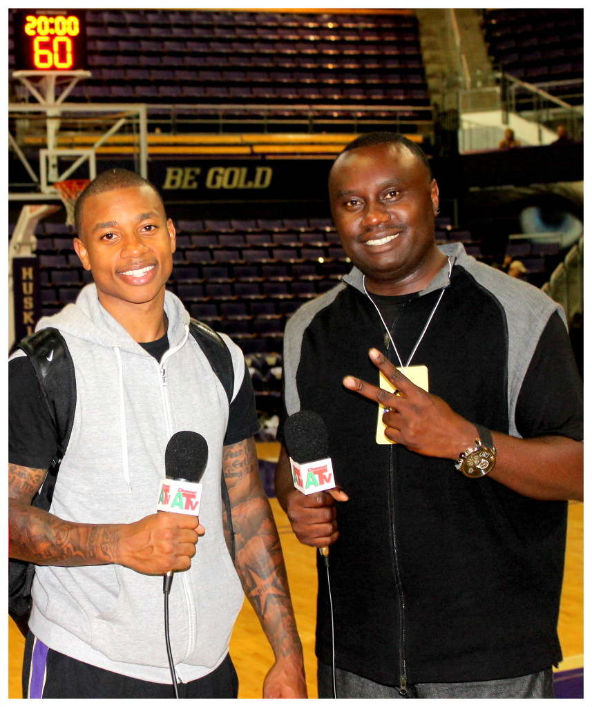 CHANNEL A TV Director DAVIES CHIRWA with NBA Star ISIAH THOMAS.