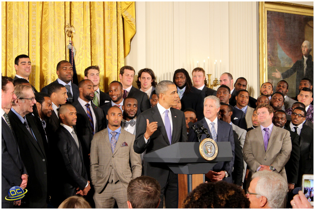 President Obama congratulating the Coach Pete Carroll and the Seattle Seahawks