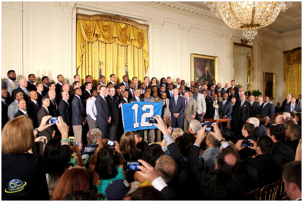 President Obama congratulating the Seahawks