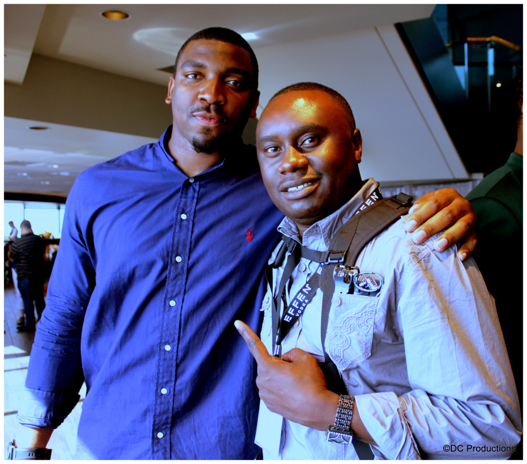 Davies Chirwa and NFL Player Greg Scruggs behind scenes