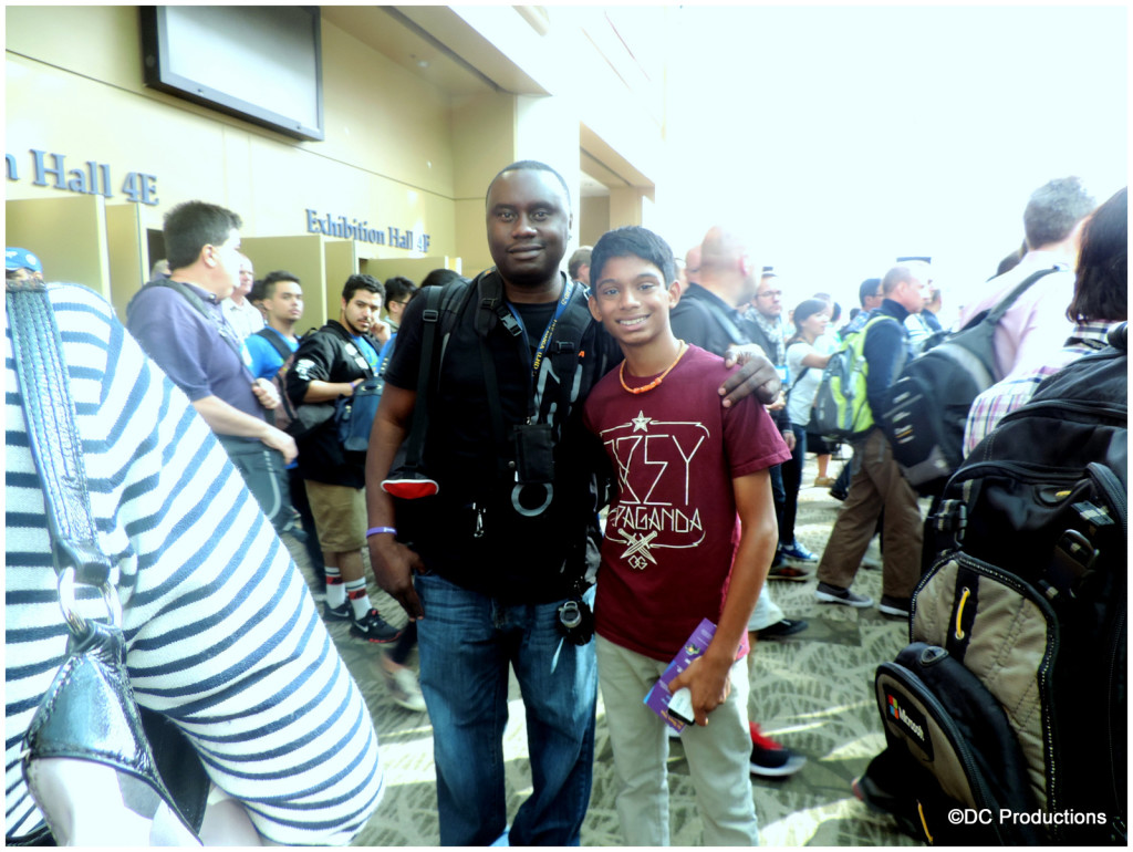 Davies Chirwa with a young student Chirag during a Channel A TV mentor-ship program at a Microsoft event in Seattle.