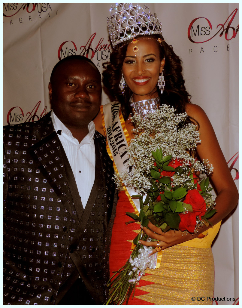 Channel A TV Founder Davies Chirwa with Meron Wudneh, Miss Africa U.S.A 2014