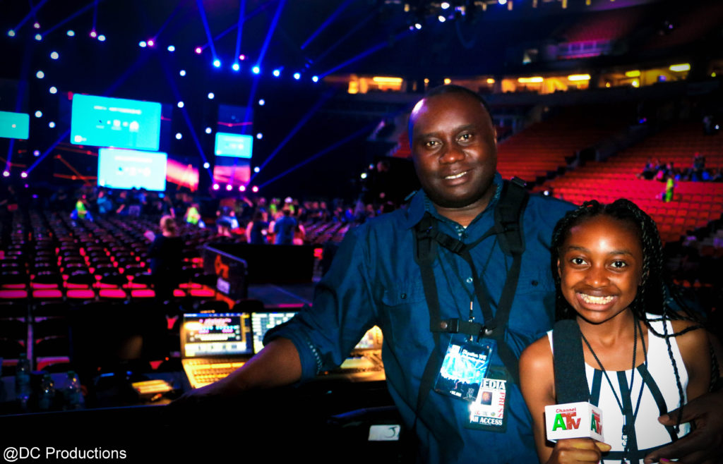 Thandi Chirwa with role model and Dad, Channel A TV Founder, Davies Chirwa at We Day Seattle.
