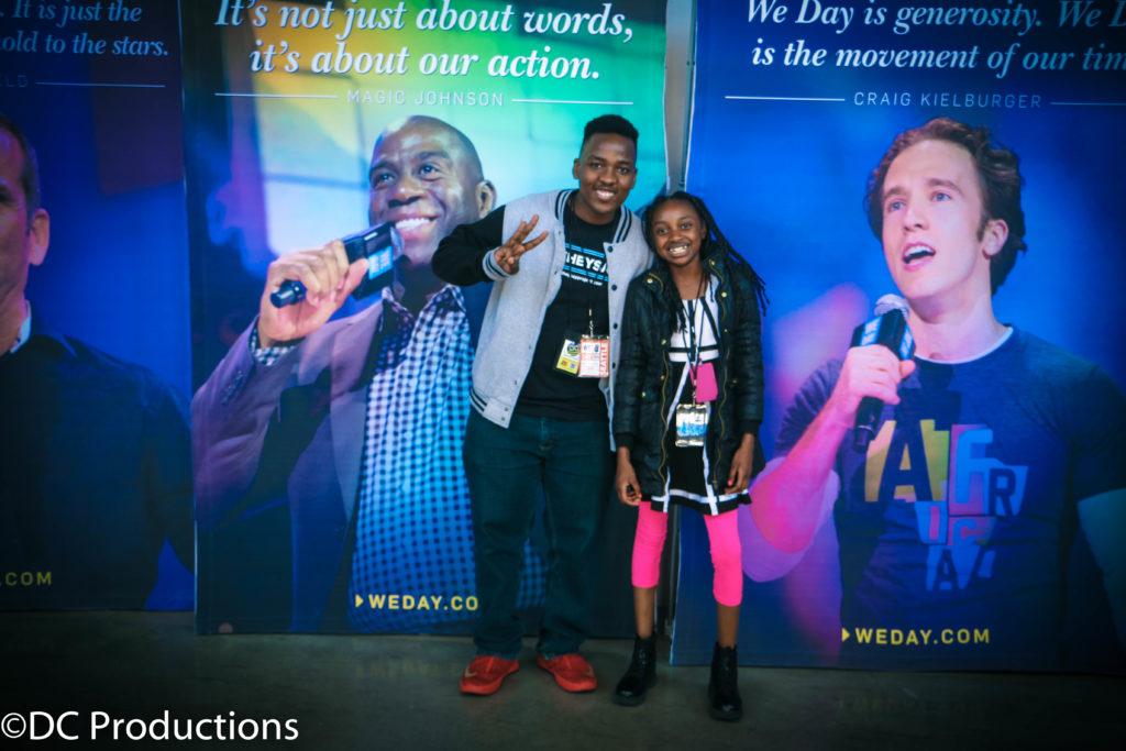 Thandi Chirwa with Kenyan young actor, Victor Kimaru at We Day